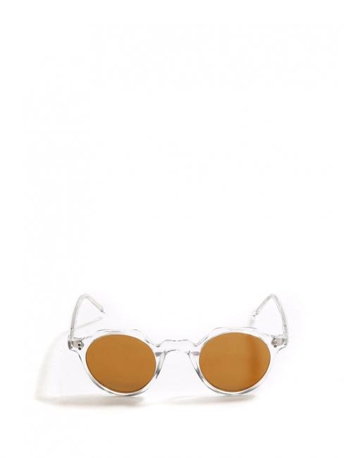 Lunettes de soleil HERI monture biseau crystal verres miroirs jaune doré NEUVES Prix boutique 350€