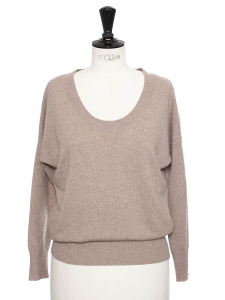 Sand beige luxury cashmere crew neck sweater Retail price €280 Size 36