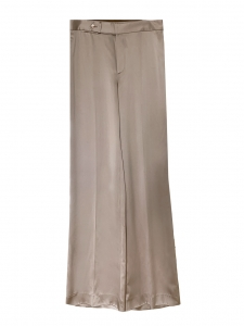 KRISTEN high waist wide-leg beige satin pants Retail price $755 Size 40