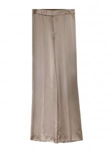 Pantalon Kristen taille haute évasé en satin fluide beige Prix boutique $755 Taille 40