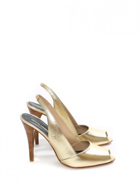 Escarpins bout ouvert et bride cheville en cuir doré NEUFS Px boutique 420€ Taille 40