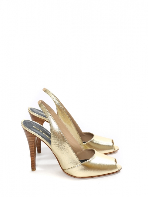 Gold leather peep toe ankle strap pumps NEW Retail price €420 Size 40