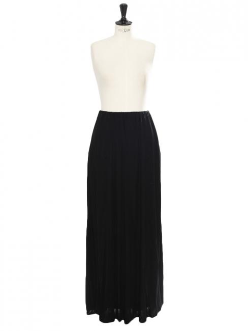 Jupe longue taille haute plissée noire Px boutique 1500€