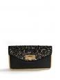 Sac pochette du soir clutch SALLY en cuir noir brodé de perles Swarovski Prix boutique 2700€
