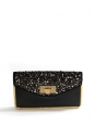 SALLY Swarovski crystal-embellished black leather clutch bag with gold lock Retail price €2700