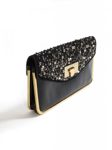 SALLY Sally Swarovski crystal-embellished black leather clutch bag with gold lock Retail price €2700