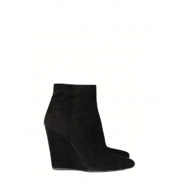 Black suede pointed toe wedge ankle boots Retail price €800 Size 38