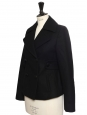 Black cashmere and wool double breasted short coat Retail price €1450 Size 36