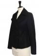 Veste manteau court cintrée en cachemire et laine noir Prix boutique 1450€ Taille 36