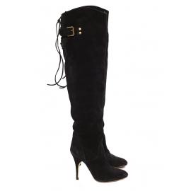 Bottes hautes cuissardes à talon en suède noir Prix boutique 1200€ Taille 37.5