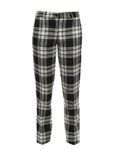Pantalon droit en laine vierge imprimé écossais noir et blanc Prix boutique 260€ Taille 36