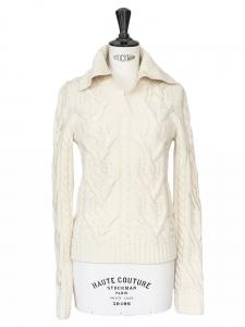 BALENCIAGA Pull en laine torsadée écrue Px boutique environ 950€ Taille 38