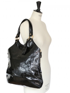 TRIBUTE black patent large leather bag Retail price $900