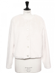 Ivory white faux fur short coat Retail price €565 Size 38 to 40