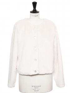 Manteau veste courte en fausse fourrure blanc ivoire Prix boutique 565€ Taille 38 à 40