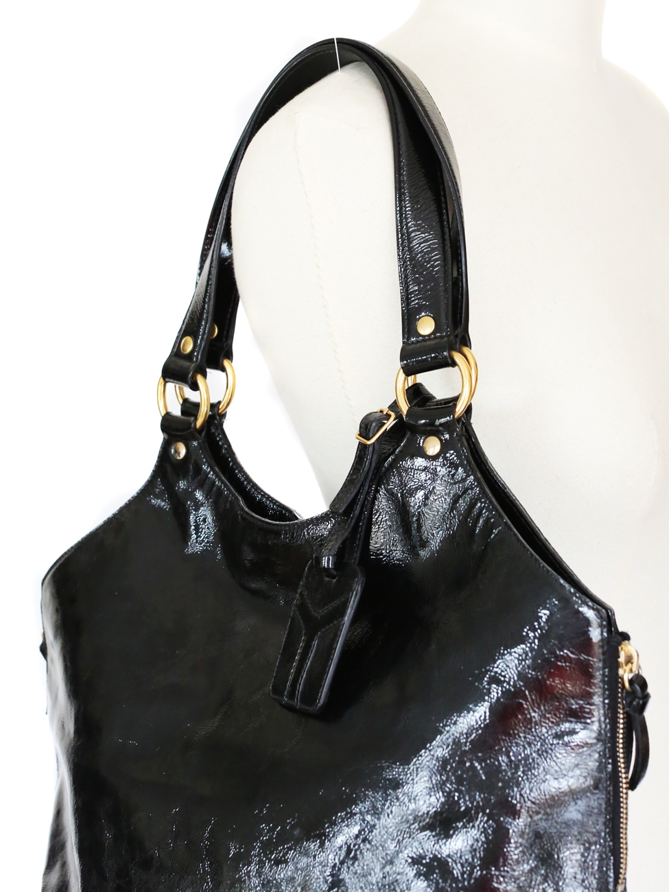 80476364d038 Louise Paris - YVES SAINT LAURENT PARIS TRIBUTE black patent large leather  bag Retail price  900