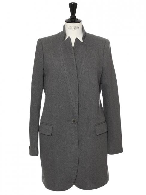 Manteau veste BRYCE en laine et cachemire gris foncé Prix boutique 1340€ Taille 38