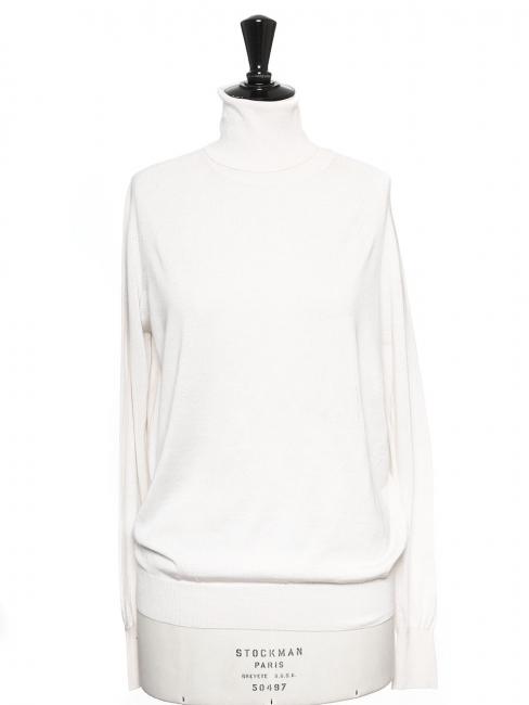 Cream white virgin wool and silk turtleneck sweater Retail price €700 Size 36