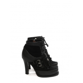 SALLY Black suede and grained leather heeled ankle boots NEW Retail price €1600 Size 37.5