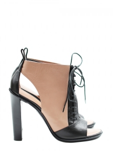 Black and nude leather laced up high heel NEW Retail price 700€ Size 38