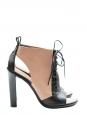 Sandales lacées à talon en cuir nude et noir NEUVES Px boutique 700€ Taille 38