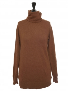 Roll neck caramel brown cashmere sweater Retail price €350 Size S