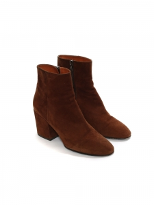 Brown suede leather and block heel ankle boots Retail price €630 Size 40