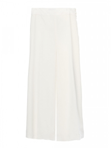 Fluid wide leg cropped ivory white crepe pants Size 38 (M)