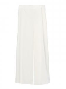 Pantalon fluide large et cropped en crêpe blanc ivoire Taille 38