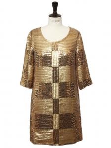 Robe de cocktail manches courtes brodée de sequins dorés Prix boutique 1400€ Taille S