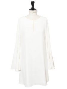 BRIANNA Keyhole swing white dress with long sleeves Retail price €380 Size S