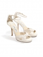 MACY Ivory white satin ankle strap heeled sandals Retail price €580 Size 37.5