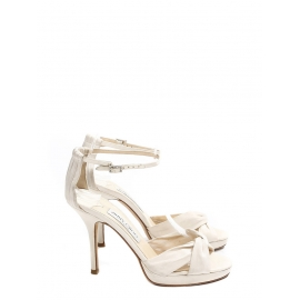 MACY Ivory white satin ankle strap heeled sandals Retail price €580 Size 36