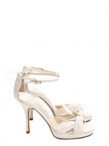 Sandales MACY en satin de soie blanc et bride cheville cristal Prix boutique 580€ Taille 37,5