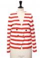 Veste blazer en tweed blanc rayé rouge et boutons dorés Prix boutique 290€ Taille 36/38