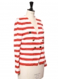 Red and white striped tweed blazer jacket Retail price €290 Size 36/38