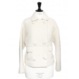 Manteau court en tweed et laine blanc ivoire Prix boutique 1200€ Taille 38