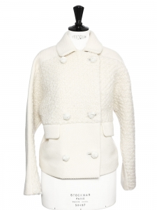 Ivory white tweed and wool short buttoned coat Retail price 1200€ Size 38