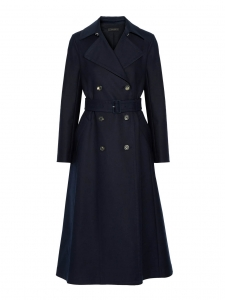 FRENTON navy blue cotton gabardine belted trench coat Retail price €3060 Size 40