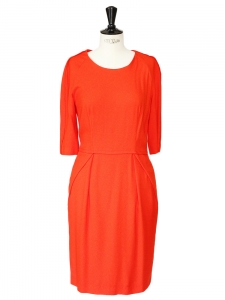 Rubis red crepe cinched and fitted long sleeves dress Retail price €950 Size 36