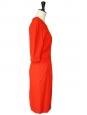 Robe manches 3/4 en crêpe rouge rubis cintrée et ajustée Prix boutique 950€ Taille 36