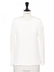 Ivory white silk long sleeves round neck blouse Retail price €370 Size 34/36