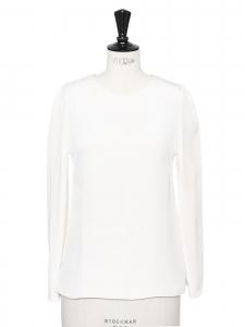 Ivory white silk long sleeves round neck blouse Retail price €370 Size 34/36