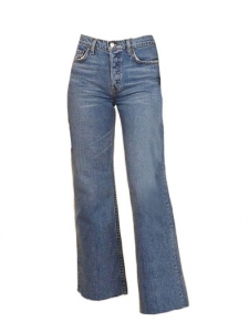 High waist petite wide crop blue jeans Retail price $128 Size 26