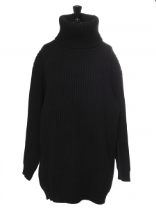 ISA turtleneck oversized black ribbed wool sweater Retail price $450 Size M to L