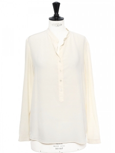 EVA ivory white silk crepe de chine long sleeve blouse Retail price €525 Size 34