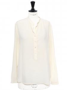 EVA ivory white silk crepe de chine long sleeve blouse Retail price €525 Size 34