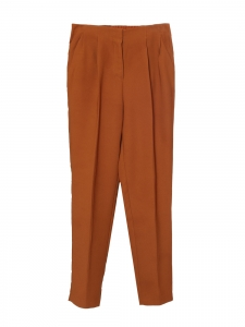 Elasticated waist fawn brown straight leg pants Retail price €130 Size 36
