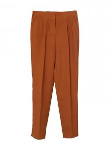 Pantalon droit taille élastique en crêpe marron fauve Taille 36