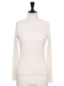 Ecru white ribbed merinos wool turtleneck sweater Retail price $545 Size S